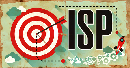 isp: ISP -  Internet Service Provider - Drawn on Old Poster. Internet Technology Concept in Flat Design.