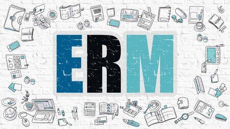 ERM - Enterprise Risk Management - Concept. ERM - Enterprise Risk Management - Drawn on White Wall. ERM - Enterprise Risk Management - in Multicolor. Doodle Design.  Modern Style Illustration.
