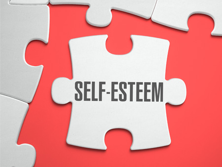self worth: Self-Esteem - Text on Puzzle on the Place of Missing Pieces. Scarlett Background. Closeup. 3d Illustration.
