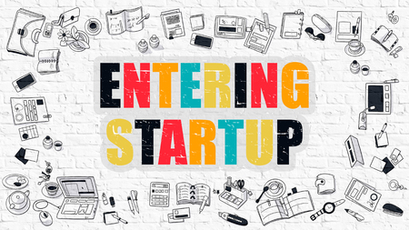 monetizing: Entering Startup - Multicolor Concept with Doodle Icons Around on White Brick Wall Background. Modern Illustration with Elements of Doodle Design Style. Stock Photo
