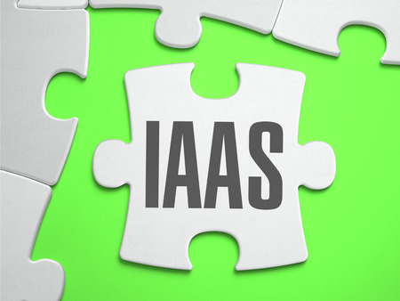 saas fee: IaaS - Infrastructure as a Service - Jigsaw Puzzle with Missing Pieces. Bright Green Background. Closeup. 3d Illustration.