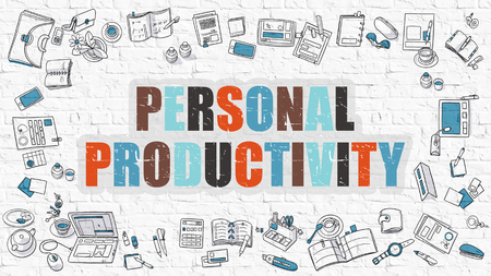 erudition: Personal Productivity Concept. Modern Line Style Illustration. Multicolor Personal Productivity Drawn on White Brick Wall. Doodle Icons. Doodle Design Style of  Personal Productivity  Concept. Stock Photo