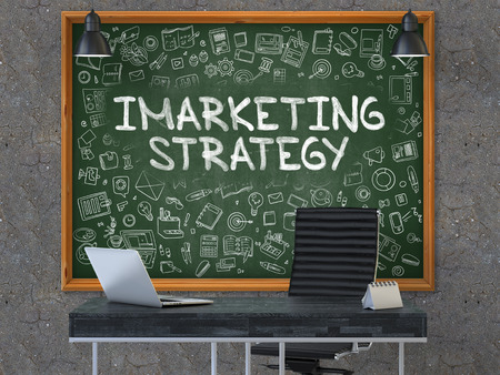 monetizing: Green Chalkboard with the Text Imarketing Strategy Hangs on the Dark Old Concrete Wall in the Interior of a Modern Office. Illustration with Doodle Style Elements. 3D.