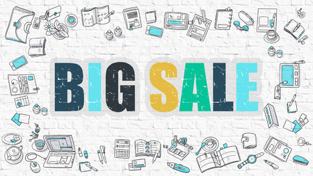 realization: Big Sale - Multicolor Concept with Doodle Icons Around on White Brick Wall Background. Modern Illustration with Elements of Doodle Design Style. Stock Photo