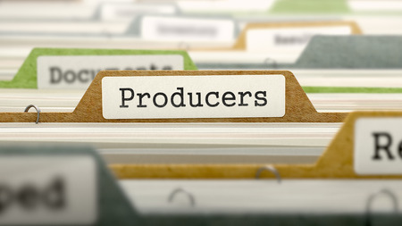 producers: Producers Concept on Folder Register in Multicolor Card Index. Closeup View. Selective Focus. 3d Render.