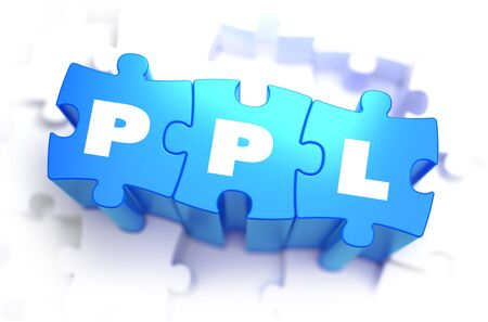 advertiser: PPL - Pay Per Lead - Text on Blue Puzzles on White Background. 3D Render.