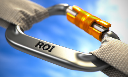 coefficient: ROI - Return on Investment - on Chrome Carabine with White Ropes. Focus on the Carabine. 3d Render.