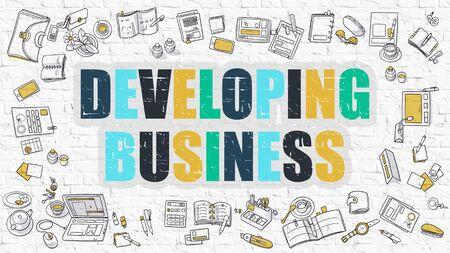 competitividad: El desarrollo de negocios - Concepto multicolor con Doodle Iconos todo sobre fondo blanco de la pared de ladrillo. Ilustración moderna con elementos de diseño de estilo de bosquejo.
