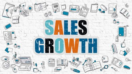 sales growth: Sales Growth. Multicolor Inscription on White Brick Wall with Doodle Icons Around. Sales Growth Concept. Modern Style Illustration with Doodle Design Icons. Sales Growth on White Brickwall Background.