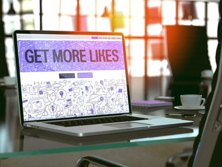 likes: Get More Likes - Closeup Landing Page in Doodle Design Style on Laptop Screen. On Background of Comfortable Working Place in Modern Office. Toned, Blurred Image.  3D Render. Stock Photo