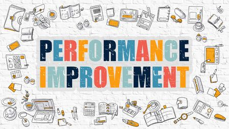 throughput: Performance Improvement - Multicolor Concept with Doodle Icons Around on White Brick Wall Background. Modern Illustration with Elements of Doodle Design Style.