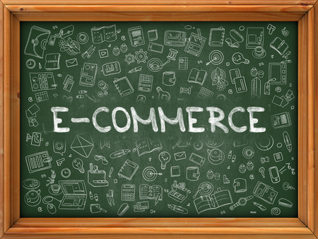 interchange: Hand Drawn E-Commerce on Green Chalkboard. Hand Drawn Doodle Icons Around Chalkboard. Modern Illustration with Line Style. 3d Render.