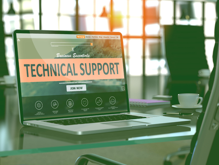 computer support: Technical Support Concept. Closeup Landing Page on Laptop Screen  on background of Comfortable Working Place in Modern Office. Blurred, Toned Image. 3d Render.