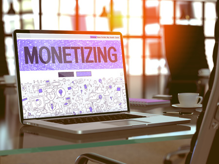 monetizing: Monetizing Concept Closeup on Landing Page of Laptop Screen in Modern Office Workplace. Toned Image with Selective Focus. 3D Render.