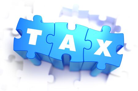 impost: Tax - White Word on Blue Puzzles on White Background. 3D Illustration.