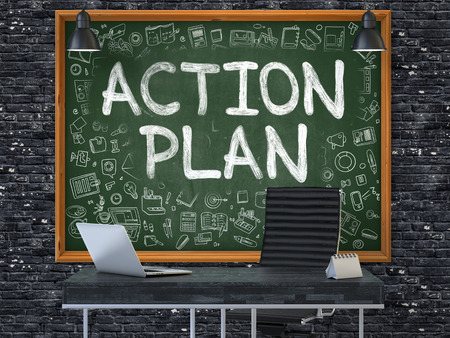 plan de accion: Action Plan - Hand Drawn on Green Chalkboard in Modern Office Workplace. Illustration with Doodle Design Elements. 3D.