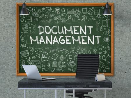 document management: Dibujados a mano de gesti�n de documentos en la pizarra verde. Interior moderno. Gray fondo de la pared de hormig�n. Concepto de negocio con elementos de estilo Doodle. 3D.
