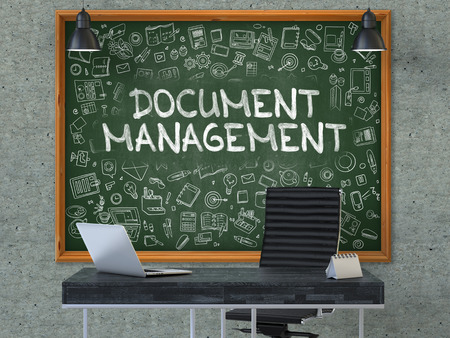 dms: Hand Drawn Document Management on Green Chalkboard. Modern Office Interior . Gray Concrete Wall Background. Business Concept with Doodle Style Elements. 3D.
