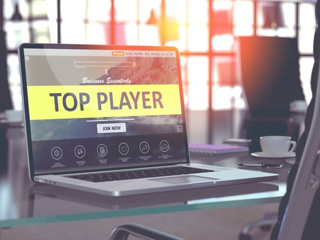 middleware: Top Player Concept. Closeup Landing Page on Laptop Screen  on background of Comfortable Working Place in Modern Office. Blurred, Toned Image. 3D Render.