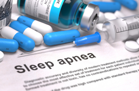 somnambulism: Sleep Apnea - Printed Diagnosis with Blue Pills, Injections and Syringe. Medical Concept with Selective Focus. 3D Render.