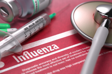 Influenza - Medical Concept on Red Background with Blurred Text and Composition of Pills, Syringe and Stethoscope. 3D Render.