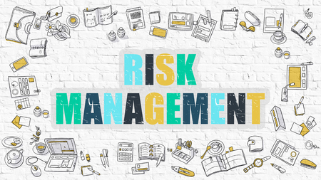 unfavorable: Multicolor Concept - Risk Management - on White Brick Wall with Doodle Icons Around. Modern Illustration with Doodle Design Style. Stock Photo