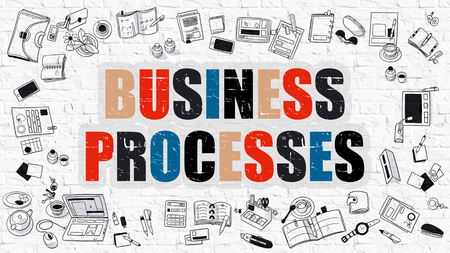formalization: Business Processes Drawn on White Wall. Business Processes in Multicolor. Modern Style Illustration. Doodle Design Style of Business Processes. Line Style Illustration. White Brick Wall.