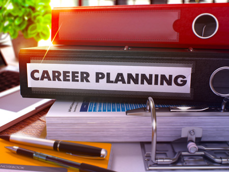 career success: Career Planning - Black Office Folder on Background of Working Table with Stationary and Laptop. Career Planning Business Concept on Blurred Background. Career Planning Toned Image. 3D.