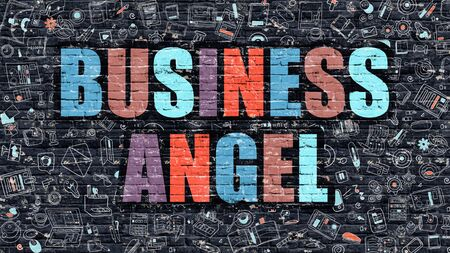 emergence: Business Angel. Multicolor Inscription on Dark Brick Wall with Doodle Icons. Business Angel Concept in Modern Style. Doodle Design Icons. Business Angel on Dark Brickwall Background. Stock Photo
