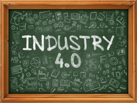 ergonomic: Industry 4.0 - Hand Drawn on Green Chalkboard with Doodle Icons Around. Modern Illustration with Doodle Design Style.