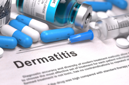 pokrzywka: Dermatitis - Printed Diagnosis with Blurred Text. On Background of Medicaments Composition - Blue Pills, Injections and Syringe. 3D Render.