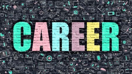 career success: Career Concept. Modern Line Style Illustration. Multicolor Career Drawn on Dark Brick Wall. Doodle Icons. Doodle Design Style of  Career Concept. Career on Dark Brick Wall. Career Stock Photo