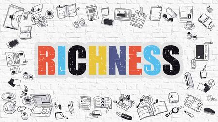 excess: Richness Concept. Modern Line Style Illustration. Multicolor Richness Drawn on White Brick Wall. Doodle Icons. Doodle Design Style of  Richness  Concept.