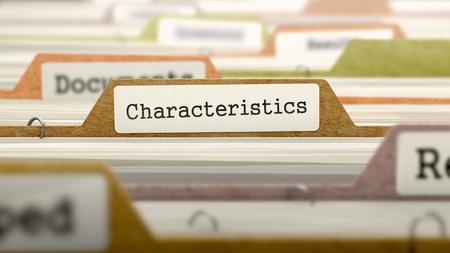 parameter: Characteristics Concept. Colored Document Folders Sorted for Catalog. Closeup View. Selective Focus. 3D Render.