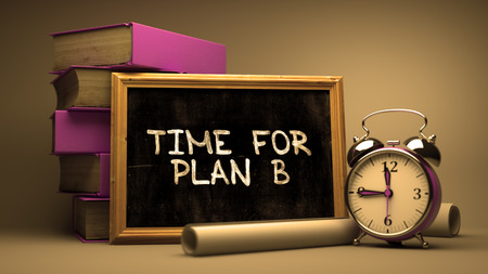 failed plan: Time for Plan B Concept Hand Drawn on Chalkboard. Blurred Background. Toned Image. 3D Render. Stock Photo