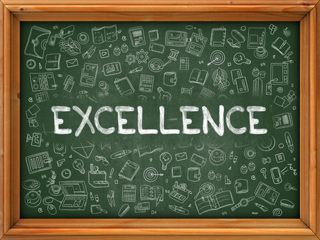 lore: Excellence - Hand Drawn on Green Chalkboard with Doodle Icons Around. Modern Illustration with Doodle Design Style. Stock Photo