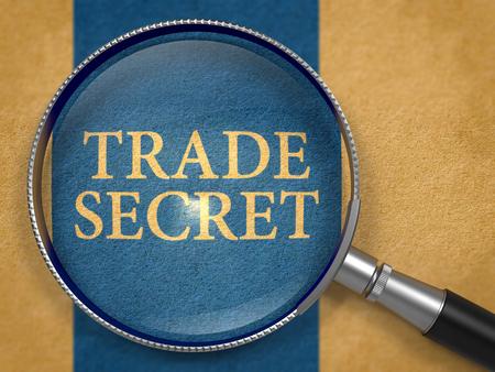 trade secret: Trade Secret through Lens on Old Paper with Dark Blue Vertical Line Background. 3D Render.