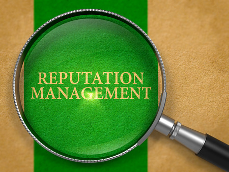 notoriety: Reputation Management Concept through Magnifier on Old Paper with Green Vertical Line Background. 3D Render. Stock Photo