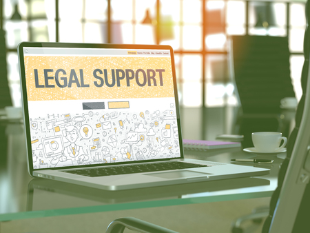 lawmaking: Legal Support Concept Closeup on Landing Page of Laptop Screen in Modern Office Workplace. Toned Image with Selective Focus. 3D Render.