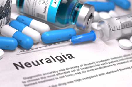 neuralgia: Diagnosis - Neuralgia. Medical Concept with Blue Pills, Injections and Syringe. Selective Focus. Blurred Background. 3D Render. Stock Photo