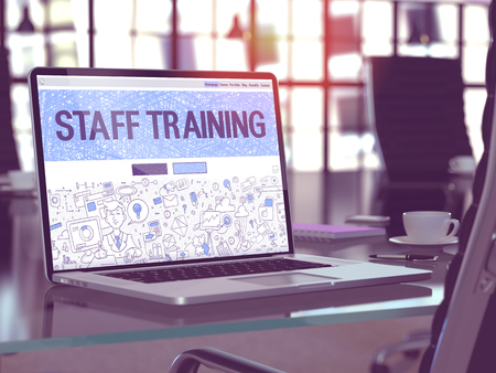 staff training: Staff Training Concept - Closeup on Landing Page of Laptop Screen in Modern Office Workplace. Toned Image with Selective Focus. 3D Render.