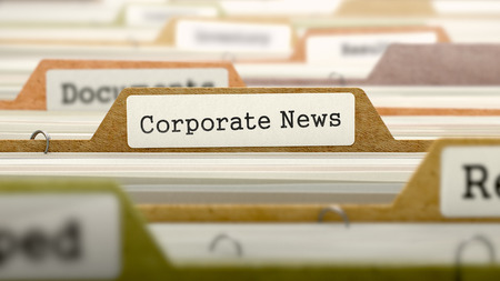 domestic policy: Corporate News Concept on Folder Register in Multicolor Card Index. Closeup View. Selective Focus. 3D Render.