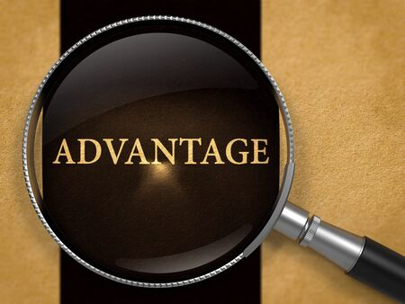 prevalence: Advantage through Magnifying Glass on Old Paper with Black Vertical Line Background. 3D Render. Stock Photo