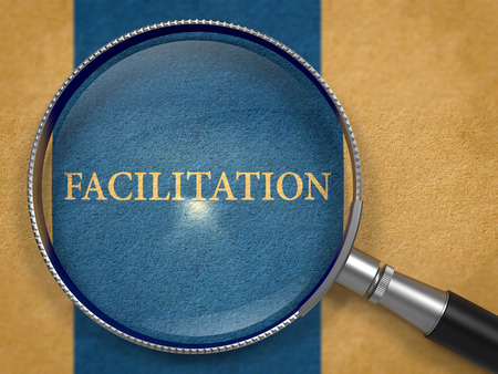 facilitation: Facilitation through Loupe on Old Paper with Dark Blue Vertical Line Background. 3D Render. Stock Photo