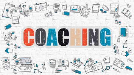 self development: Coaching - Multicolor Concept with Doodle Icons Around on White Brick Wall Background. Modern Illustration with Elements of Doodle Design Style.