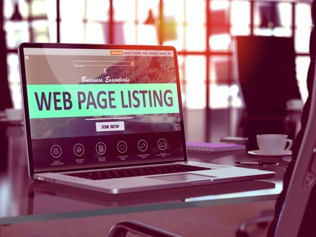 listing: Web Page Listing Concept. Closeup Landing Page on Laptop Screen  on background of Comfortable Working Place in Modern Office. Blurred, Toned Image. 3D Render.