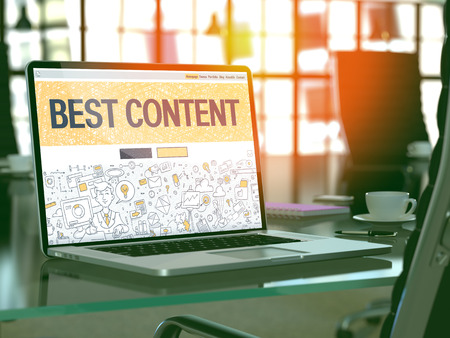 rewriting: Best Content - Closeup Landing Page in Doodle Design Style on Laptop Screen. On Background of Comfortable Working Place in Modern Office. Toned, Blurred Image. 3D Render. Stock Photo