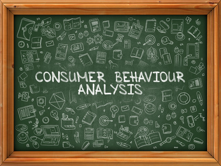 behaviour: Consumer Behaviour Analysis - Hand Drawn on Green Chalkboard with Doodle Icons Around. Modern Illustration with Doodle Design Style.