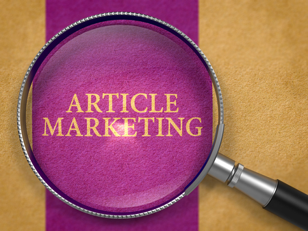 article marketing: Article Marketing Concept through Magnifier on Old Paper with Dark Lilac Vertical Line Background. 3D Render. Stock Photo