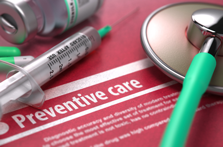 preventive: Preventive care - Medical Concept with Blurred Text, Stethoscope, Pills and Syringe on Red Background. Selective Focus. 3D Render.